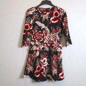 Nicole Miller Black Floral Dress Crane Graphic 6